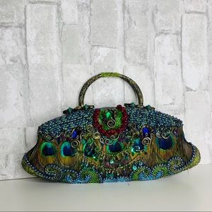 Mary Frances Beaded peacock handbag